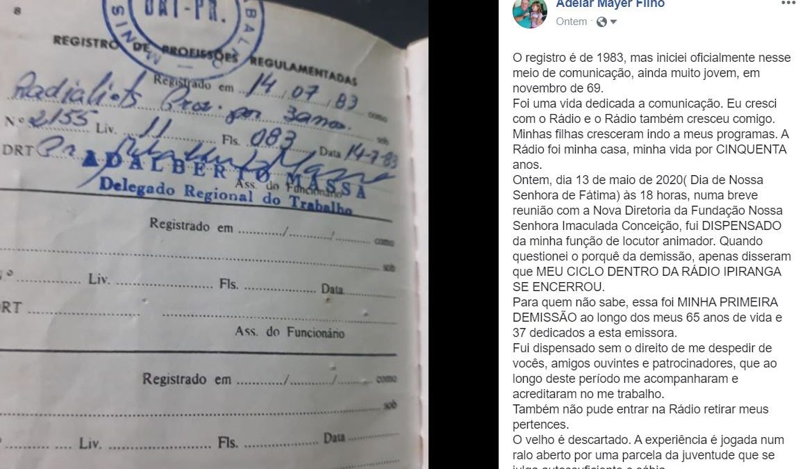 Adelar Filho é demitido da Rádio Ipiranga e público se manifesta