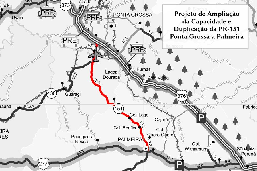 Duplicação da PR 151, entre PG e Palmeira, é uma das obras viabilizadas através do Banco de Projetos