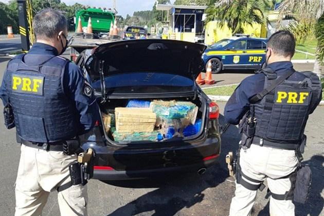 PRF apreende quase 400 quilos de maconha e recupera carro roubado no Paraná