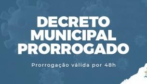 Decreto de enfrentamento ao coronavírus é prorrogado por 48 horas em Palmeira