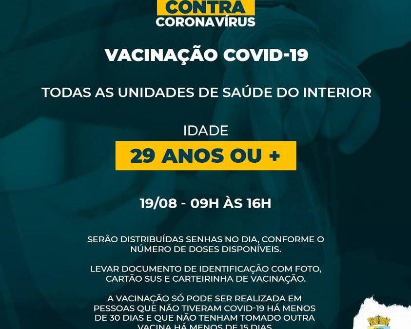 Unidades da área rural vacinam pessoas com 29 anos ou mais e grupos prioritários contra Covid-19 na quinta-feira
