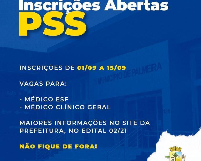 Município abre inscrições de PSS para contratação de médico e de médico clínico geral