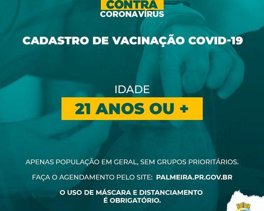 Agendamento de vacinação contra a Covid-19 para pessoas com 21 anos ou mais está aberto